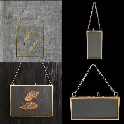 Antique Brass Hanging Photo Frame Metal Glass Portrait Vintage Picture Frames Holder Double Sided Gift Bronze Home Decoation