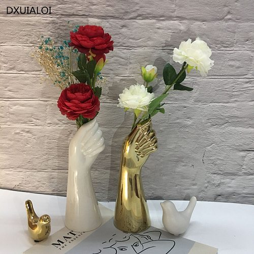 ceramics vase Nordic style Golden Hand Vase Flowers Modern Home Office Decor of Creative Floral Composition living room Ornament