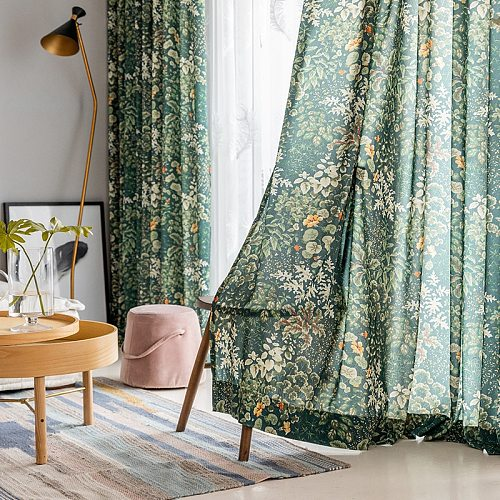 Modern Green leaf curtains for living room bedroom window printed rustic vintage  curtains ready made