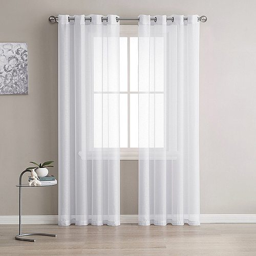 White Tulle Short Curtain for Living room Solid Sheer Voile Curtains for Kitchen Window Screening Linen Curtain Door Wedding