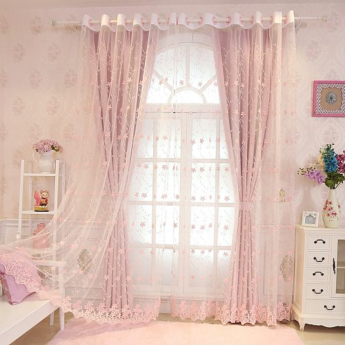 European and American Style Curtains for Living Room High Shading Curtains for Kids Romantic Princess Room for Girls