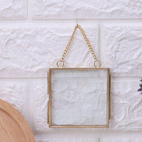 Creative DIY Chain Retro Metal Photo Picture Frame High Translucent Glass Specimen Folder Flower Plant Specimen Display Holder