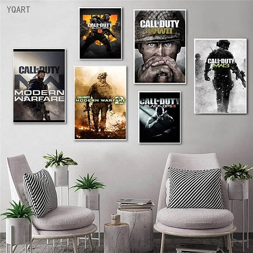 YQART Game Posters Modern War Theme Wall Art Canvas Prints Pictures Painting Decoration for Home Bedroom Decoration No Frame