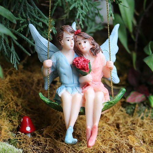 Miniature Fairy Couple Swing Mini Resin Fairy Figurines Elf Figure Angels Statues Fairy Garden Miniatures Supplies Ornaments