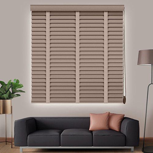 Wood Blinds 50mm Slat Real Basswood Shutter Customized Size Window Wooden Venetian Blinds Shutter For Home Decoration