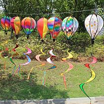 1Pc Wind Chimes Rainbow Hot Air Balloon Wind Spinner Rotating Sequins Windmill Wind Twister Hanging Decoration Random Color
