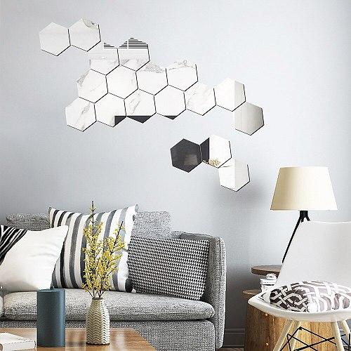 12PCs/Set DIY 3D Mirror Wall Sticker Hexagon Home Stickers Art Wall Decoration Stickers Multi-color Kawaii Room Decoration  Hot