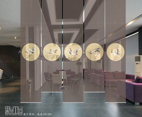 Chinese screen soft partition vestibule hanging curtain shutter shutter Creative screen for the room partition wall Lonely Guhe