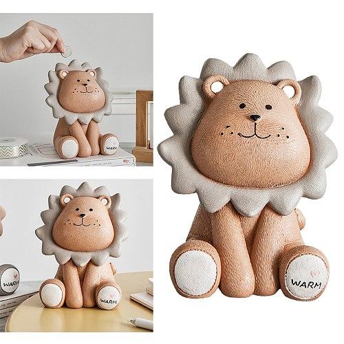 Cartoon Lion Money Box Creative Coin Bank Children Piggy Bank Adorable Gift Saving Box Figurines