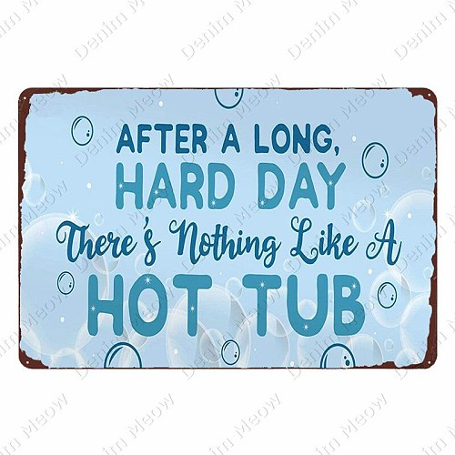 Welcome To The Hot Tub Bar Poster Hot Tub Rules Vintage Metal Tin Signs Pub Club Decoration Rule Wall Art Plate Home Decor N354