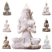 Thailand Sitting Buddha Statue Indian Ganesha Sandstone Fengshui Model Desktop Meditation Miniature Figurine Home Decoration