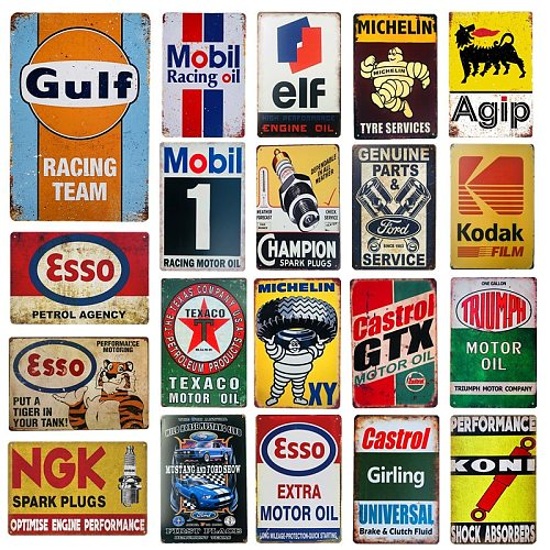 Shabby Chic Vintage Metal Tin Signs Gulf Esso Agip Man Cave Plate Motor Oil Garage Wall Stickers Gas Decor Plaque