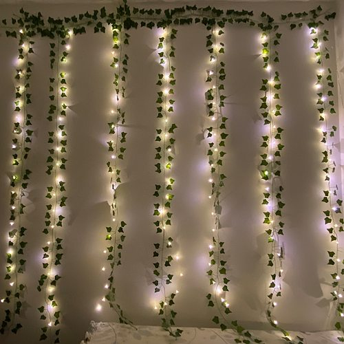Artificial Plants Garland String Light Green Leaf Vine Ivy Fake Plants Rose Curtain Twinkle Lamp Garden Home Wedding Wall Decor