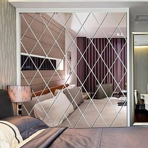 Self Adhesive Diamond Spliced Mirror Stickers Removable Acrylic Mirror Sheets Wall Decals For Home Art Room Bedroom Background