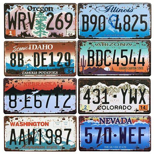 Vintage Metal Poster USA Texas New York California Car Number Metal License Plate Decor Wall Bar Pub Garage Tin Signs & Plaques
