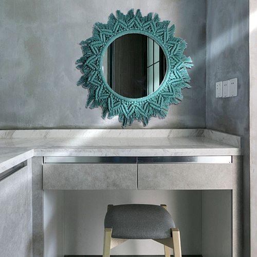 Bathroom Wall Decorative Shower Make Up Mirror Handmade Cotton Macrame Miroir Home Dcoration Accessories Round Large Mirror