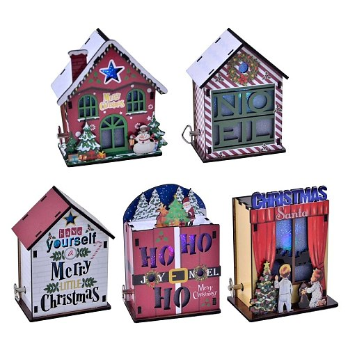 3D Wooden Puzzle Assembled Luminous Christmas House Music Box DIY Table Decoration Birthday Gift