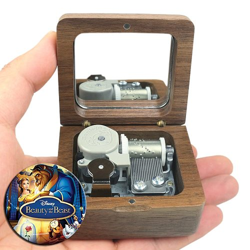 Sinzyo Handmade Wooden Beauty and the beast Music Box Wood Carved Mechanism Musical Box Gift For Christmas Valentine's day