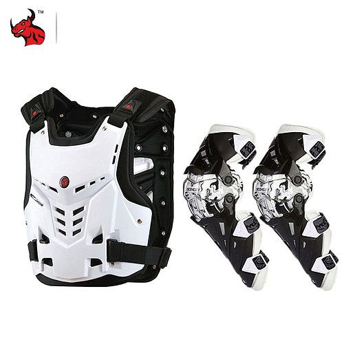 SCOYCO Motorcycle Jacket Body Armor Motorcycles Riding Chest Protector Motocross Off-Road Racing Vest+Motorcycle Knee Protector