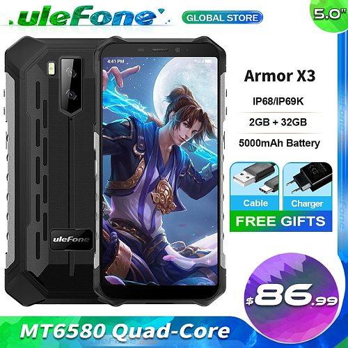Ulefone Armor X3 Waterproof Smartphone IP68 5.5  HD+ Android 9.0 2GB 32GB Quad Core Face ID Unlock 3G Mobile Phone 5000mAh