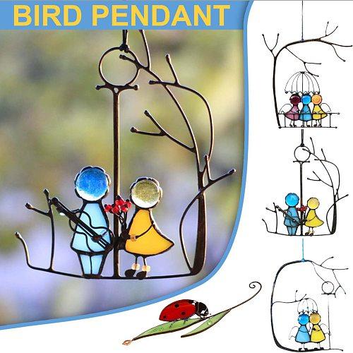 Suncatcher Art Window Hangings Angels Couple Love Home Decor Gift Wind Chimes & Hanging Decorations #J20