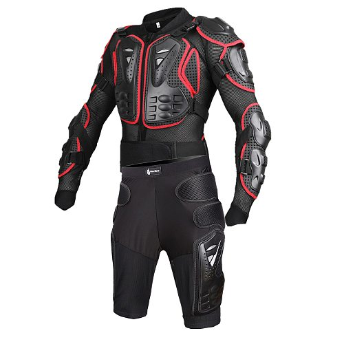 WOSAWE men motorcycle jackets Shorts sets Protection Motocross Clothing Moto chest Back support body Armor hip Protector