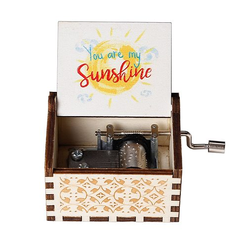 FAST SHIP New Wooden Hand Crank TO MY Wife You Are My Sunshine DAD I Love You 3000 Music Box Christmas Gift