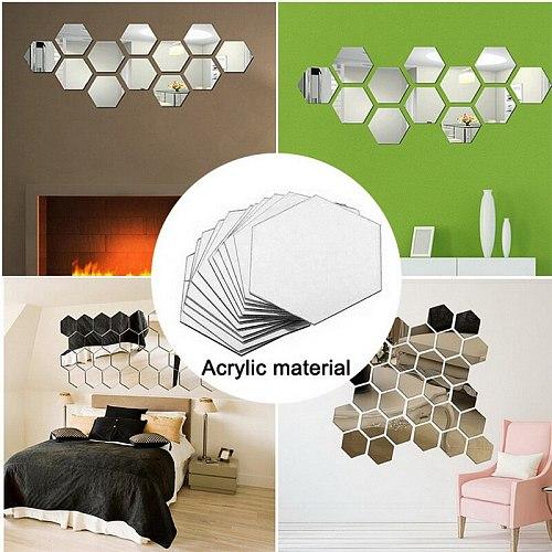 12PCs/Set DIY 3D Mirror Wall Stickers Hexagon Home Decor Acrylic Mirror Decor Sticker Mural Removable Room Decal Art Ornament