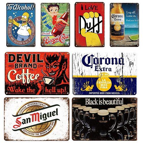 Duff Beer Metal Poster Tin Sign Vintage Corona Metal Plaque Signs Retro Irish Bar Pub Restaurant Room Wall Decoration Plates