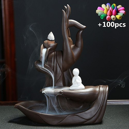 (Best Sellers) Backflow Incense Cones Bigger Tower Incense Burner Incense Stick Holder Lotus Incense Censer Little Monk Burner
