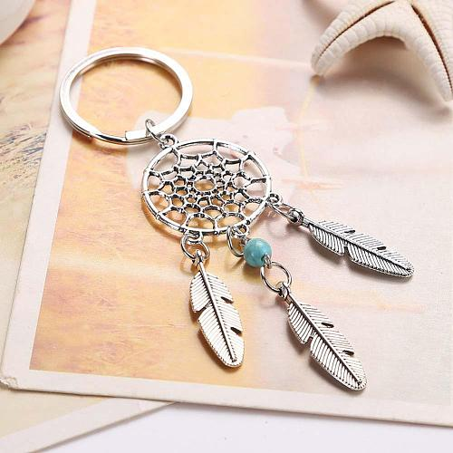 Dream Catcher Key Ring Buckle Pendant Jewelry Gift Pink Green Beads Dreamcatcher Feather Wind Chimes Keychain For Gift