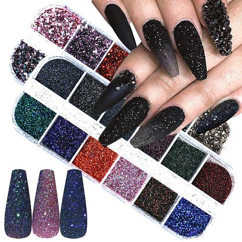 54sets Nail Holographic Laser Butterfly Laser Glitter Glitter Powder Mixed Set Acrylic Paint DIY Decorative Nail Art Accessories
