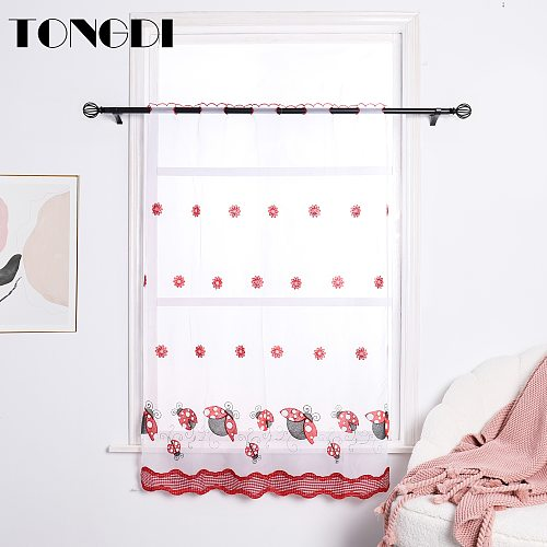 TONGDI Home Kitchen Curtains Short Tiers Cartoon Animal Embroidery White Tulle Valance Decoration For Window Kitchen Dining Room