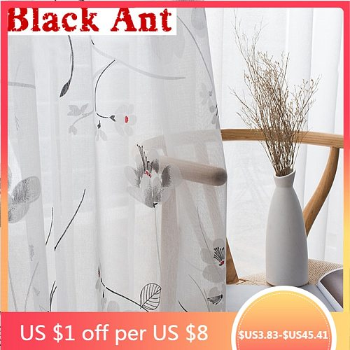 Floral Sheer Screening Panel Plain Curtain For Window Bedroom Tulle Drape Voile Fabric Treatment Blinds Customize X614#30