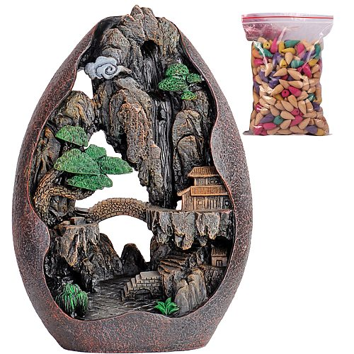 Waterfall Incense Burner Ceramic Incense Holder Home Decor Best Christmas Gift With 50 Incense Cones Room Decoration
