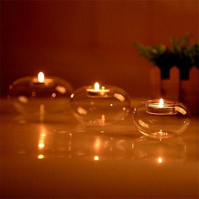 1Pcs Clear Round Hollow Heat Resistant Glass Crystal Candle Holders Case Container Candlestick Candler Holder 8/10/12CM
