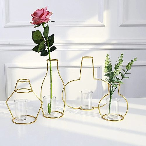 Gold Retro Iron Line Table Flowers Vases Nordic Decoration Home Metal Plant Holder Nordic Styles Flower Vase Home Decor 8 Shapes
