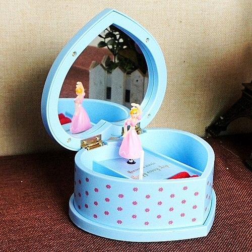 Rotating Dancing Girl Heart-Shaped Mechanical Music Box Ballerina Jewelry Storage Children Friends Birthday Gift Home Decoration