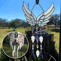 Hanging Decor Angelic Feathers Stained Glass Hand-made Wind Chimes Hanging Home Decoration Wind Chimes Hot Sale