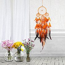 62-67cm Handmade Dream Catcher Hanging Ornament Wind Chimes Indian Feather Pendant Dreamcatcher for Home Car Wall Decor Orange
