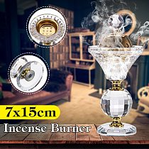 Portable 5.9in Mini Bakhoor Burner Incense Metal Burners Diamonds Floral Arabian Style Crystal Incense Home Decor
