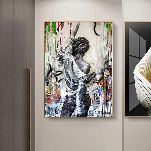 Street Graffiti Art Modern Abstract Woman Canvas Painting Cuadros Posters Prints Wall Art for Living Room Home Decor (No Frame)