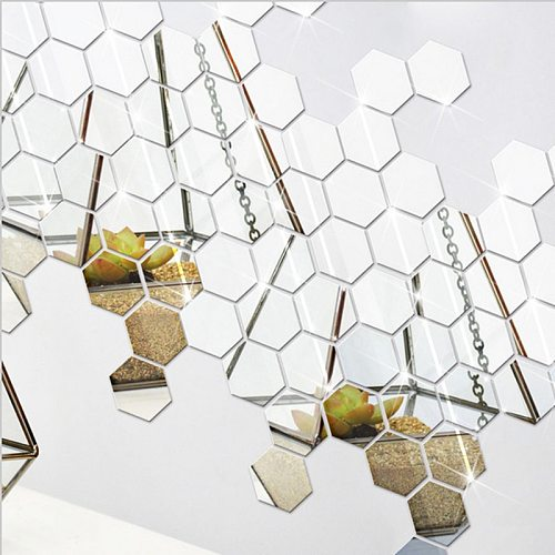 Hot 12PCS Acrylic Mirror Wall Stickers Self Adhesive Removable Hexagonal Decorative Mirror Sheet For Living Room Bedroom Decor