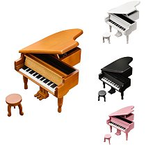 Piano Wooden Music Box 18 Tones Grand Gifts for Valentines Day Classical Nice Music Box with Stool Craft