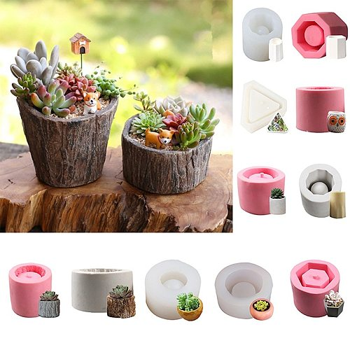 Reusable 3D Silicone Molds for Epoxy Resin Candle Holders Soap Making Mould Concrete Cement Clay Mold Succulent Flower Plant Pot