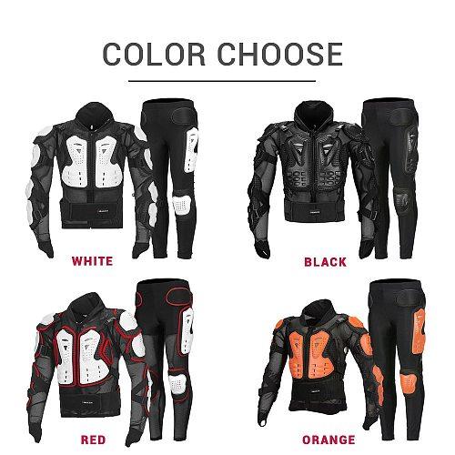 White Motorcycle Jacket Summer Motocross Jacket+pants Moto Body Armor Motocross Racing Moto Motorbiker Motorcycle Protection