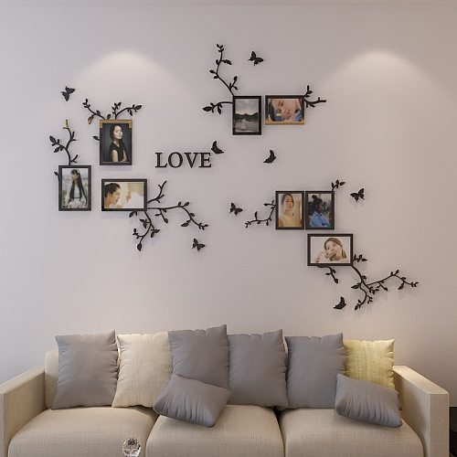 LOVE Letters 3D Acrylic Wall Stickers Photo Frames Sticker DIY Wall Decora Poster Family Picture Hanging Living Room Home Decor