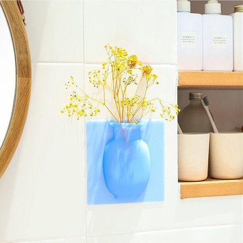 Silicone Sticky Wall Magic Plant Vases Container Decorations Leaves Body Accessories Outdoor Handmade Pots Soft Bottle Flowers