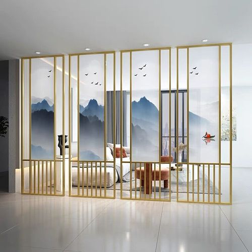 ChinaFurniture processing and manufacturing factory Light luxury golden stainless steel screen partition
