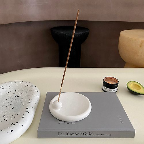 Ceramic Incense Burner Nordic Calming Aroma Base Storage White Round Plate Portable Travelling Accessories Home Office Decor